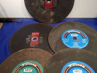 5 14 in cutting wheels two for metal two for masonry and one for asphalt concrete