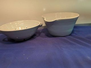 two pieces of pottery barn pottery