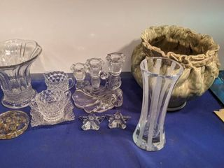 miscellaneous glassware and planter