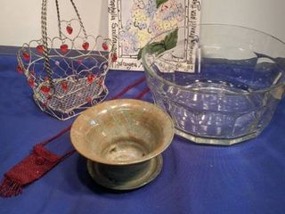 metal basket hydrangea trivet small beaded purse planter and large glass bowl