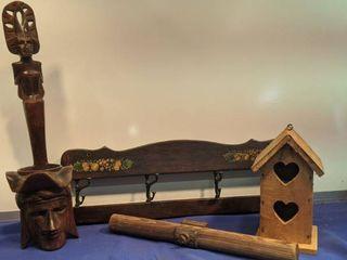 antique wooden handle wooden wall hanging wooden shelf wooden birdhouse