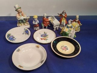 Japan musical figures and assorted saucers