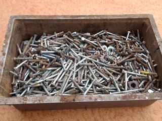 pan full of nuts bolts and washers new some used approximately 50 lb