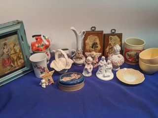 miscellaneous lot angels hollyhobby plaques vases cup saucers I believe Sarah s attic numbered USA Minneapolis twine binder original old advertising in a treasure box