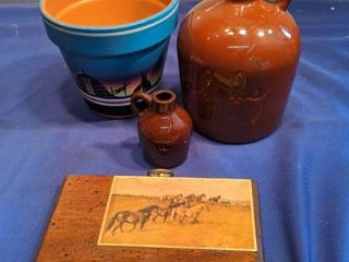 two brown jugs flower pot and horses picture