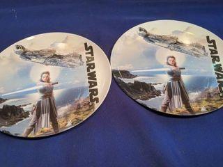 two plastic Star war plates