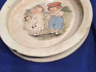 buffalo pottery child dish chipped