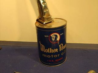 mother penn motor oil can with two metal spouts