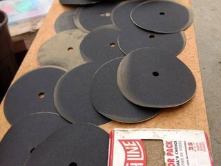 18 12 in sanding disc and a contractors pack of 9x11 sheets of sandpaper