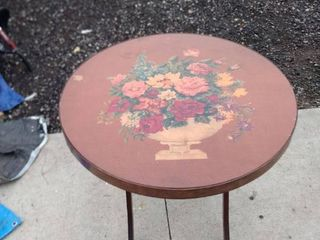 antique fold down round table