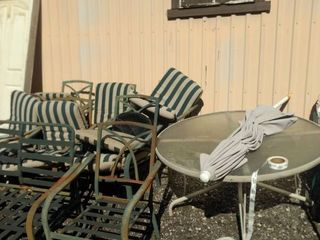 patio table and chairs one bench umbrella with stand