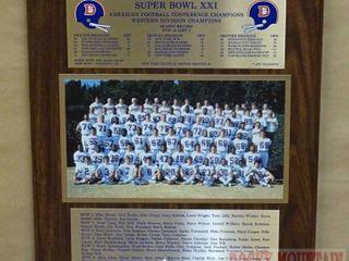 Denver Broncos Super Bowl XXI Plaque.