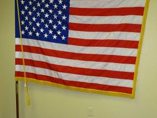 Beautiful Large American Flag W/ Pole.