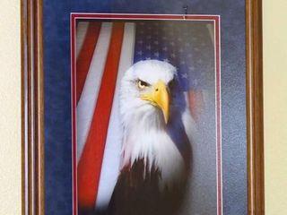 Custom Framed Bald Eagle Photo, Artist Signed.