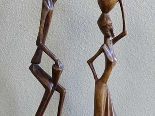 2 Hand Carved Wooden Figurines, 12