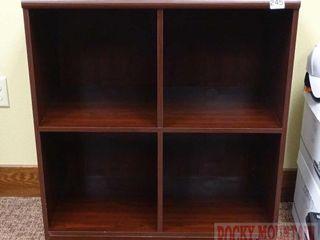 4 Compartment Cherry Finish Bookcase.