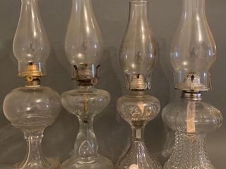 lot of 4 Clear Glass Oil lamps