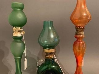 Three Coloured Glass Miniatures