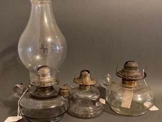 Three Old Clear Glass Finger lamps