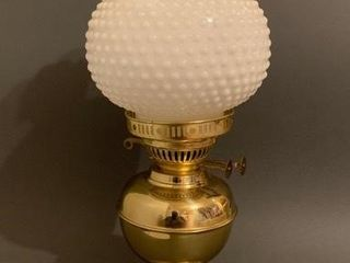 Brass lamp with Hobnail Shade