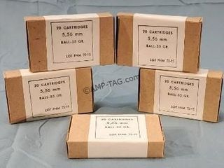 5 Boxes 100 Rds. 5.56 Military Ball Ammunition