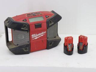 Milwaukee M12 Radio and 2 Batteries