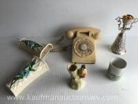 Vintage phone, wall hangers, vase, cup