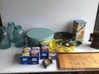 1/2 gallon jars, Mason jar lids, tins, tray, decorative phone