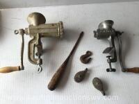Two grinders, hook, screwdriver, pulleys