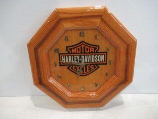 Harley Clock Hand Made of Oak Beautiful like New