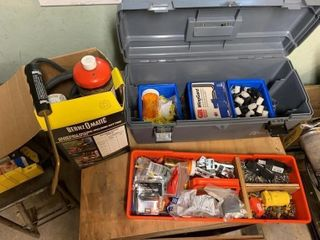 Torch, Tool Box w/Electrical Supplies
