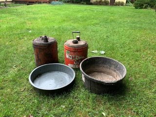 Farm Oil 5 Gal. Can, 2 Pans, 5 Gal. Can
