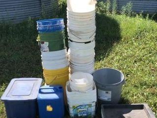 5 gallon buckets, oil pan, tote