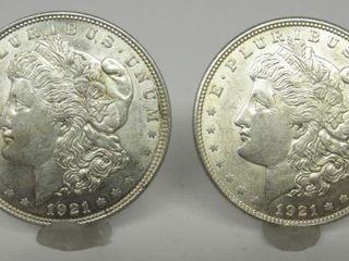 1921-P US Morgan Silver Dollars (2x the Bid)