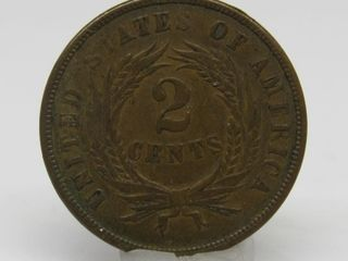 1865 US Civil War 2 Cent Piece