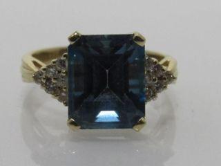 14kt Gold Blue Topaz & Diamond Ring * Appraisal*