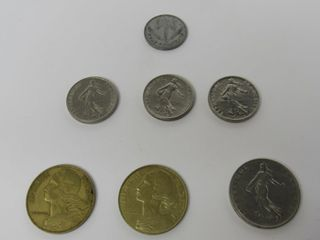(7) France Assorted Coins