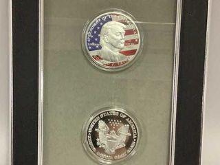 Framed Commemorative Trump Silver Coins