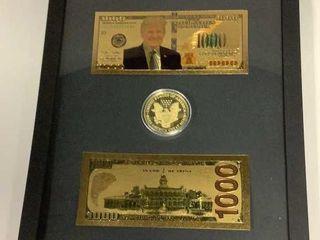 Framed Commemorative Trump Bills & Coin