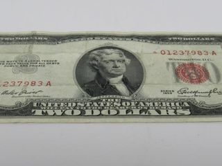 """1953 US $2 Red """"STAR"""" Note"""