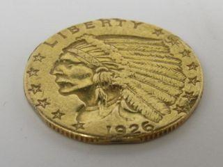 1926 Indian Head $2.50 Gold Quarter Eagle Estate