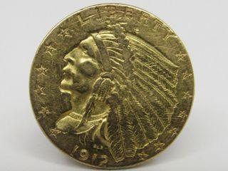 1912 Indian Head $2.50 Gold Quarter Eagle Estate