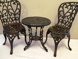 Miniature Cast Iron Bistro Set with Friends