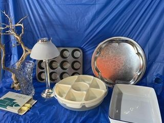 Muffin tin, vase, candles and candle holder,