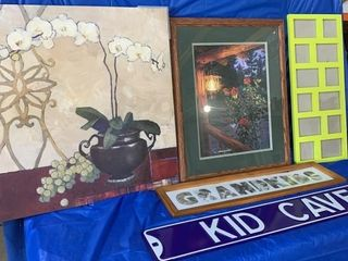 Quantity of pictures and enamel kid cave sign