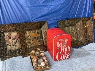 Metal wall plaques, table centerpiece, and