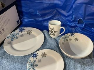 Four place setting of snowflake dishes - missing