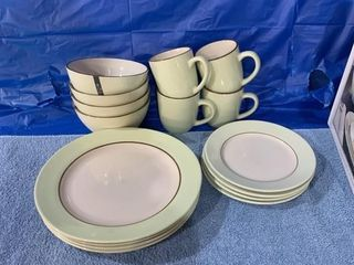 Four place setting of Moda Stoneware dishes