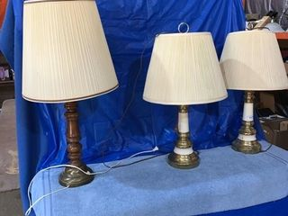 Three electric lamps, 27 inches high and 30 inches