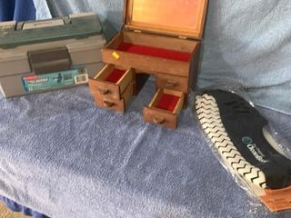 Tackle box, jewelry box, unused pair of boot